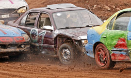 Demolition derby car three collide stock photography