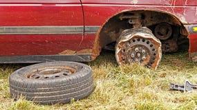 Demolition derby car wheel rim Stock Photos