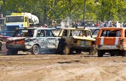 Demolition Derby Cars. Cars at the RomuRing Demolition Derby in Tallinn, Estonia stock photos