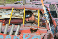 Demolition derby. Cars entertain the crowd at Triple S Fair & Rodeo. Selkirk Town, MB, Canada Stock Image