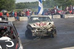 Demolition derby. Napierville demolition derby, July 12, 2015, picture of car winner during the demolition derby royalty free stock images