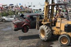 Demolition derby. Napierville demolition derby, July 12, 2015, picture of wrecked car out of demolition derby stock image