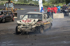 Demolition derby. Napierville demolition derby, July 12, 2015, picture of wrecked car winner of the demolition derby royalty free stock images