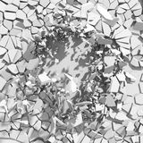 Demolition destruction explision of white wall hole. Abstract ba. Ckground. 3d render illustration Stock Photography