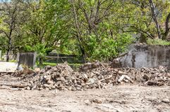 Demolition and destruction site bricks remains and leftovers of building material on the ground empty space.  Stock Images