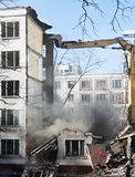 Demolition of dilapidated and old apartment building Stock Photo