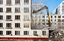 Demolition of dilapidated and old apartment building Stock Images