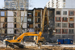 Demolition of dilapidated and old apartment building in Moscow Royalty Free Stock Photo