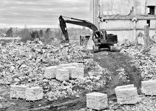 Demolition and dismantling of the remnants of the large industri Stock Images