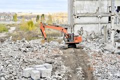 Demolition and dismantling of the remnants of the large industri Stock Photo