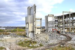 Demolition and dismantling of the remnants of the large industrial enterprise Royalty Free Stock Images