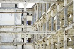 Demolition and dismantling of the remnants of the large industrial enterprise Royalty Free Stock Image
