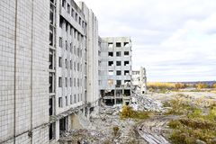 Demolition and dismantling of the remnants of the large industrial enterprise Royalty Free Stock Photos