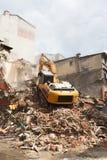 Demolition excavator in the e city Stock Image