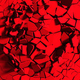 Demolition explosion chaotic fragments of red broken wall. Abstract background. 3d render illustration Royalty Free Stock Images