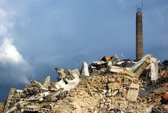 Demolition of factory stock photo