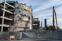 Demolition of the famous Skeleton building located on the kolejowa street in Wrocław. July 9 2017.  The building was not completed because of a law violation Royalty Free Stock Photos