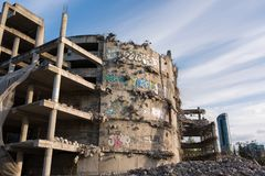 Demolition of the famous Skeleton building located on the kolejowa street in Wrocław. July 9 2017.  The building was not completed because of a law violation Stock Images
