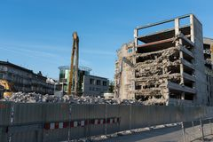 Demolition of the famous Skeleton building, wroclaw. Demolition of the famous Skeleton building located on the kolejowa street in Wrocław July 9 2017.  The Royalty Free Stock Photo