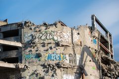 Demolition of the famous Skeleton building, wroclaw. Demolition of the famous Skeleton building located on the kolejowa street in Wrocław July 9 2017.  The Stock Images