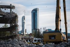 Demolition of the famous Skeleton building, wroclaw. Demolition of the famous Skeleton building located on the kolejowa street in Wrocław July 9 2017.  The Stock Image