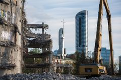 Demolition of the famous Skeleton building, wroclaw. Demolition of the famous Skeleton building located on the kolejowa street in Wrocław July 9 2017.  The Royalty Free Stock Photography