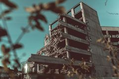 Demolition of the famous Skeleton building, wroclaw. Demolition of the famous Skeleton building located on the kolejowa street in Wrocław July 9 2017.  The Stock Photos