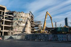 Demolition of the famous Skeleton building, wroclaw. Demolition of the famous Skeleton building located on the kolejowa street in Wrocław July 9 2017.  The Royalty Free Stock Image