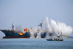 Demolition of Fish Pirates VIKING Ship in Indonesia Stock Photos