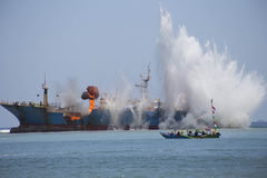 Demolition of Fish Pirates VIKING Ship in Indonesia Stock Images