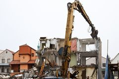 Demolition of flats Stock Images
