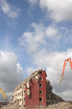 Demolition of flats. Tower block being demolished Royalty Free Stock Images