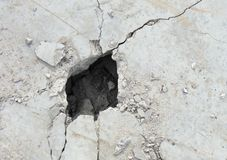 Demolition hole in a large concrete white plate Royalty Free Stock Photography