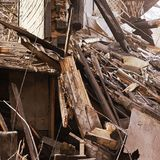 Demolition house. Building renovation at city. Industrial breaker royalty free stock photos