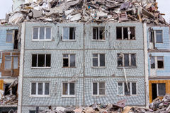 Demolition House. Demolition of buildings in urban environments. House in ruins Stock Image