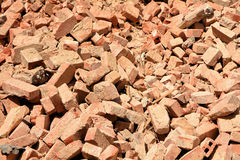 After the demolition of a house. Pile of rubble of bricks after the demolition of a house Royalty Free Stock Photos
