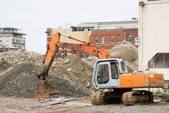 Demolition of a house in urban surroundings Royalty Free Stock Photos