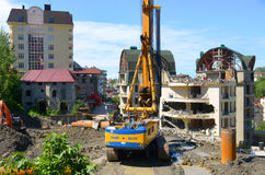 Demolition of illegally constructed building Royalty Free Stock Photo