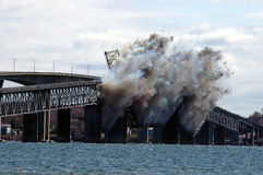 Demolition of the Jamestown Bridge. Charges are set off to start the demolition of the Jamestown Bridge Stock Images
