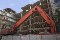 Demolition of a large building Royalty Free Stock Photo
