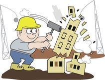 Demolition man cartoon. Cartoon of construction worker using sledgehammer to demolish building Stock Image
