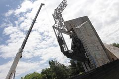 "Demolition of the monument ""1300 years of Bulgaria"" near by NDK in Sofia, Bulgaria – july 4, 2017. Communist regime. Demolition of the Stock Image"