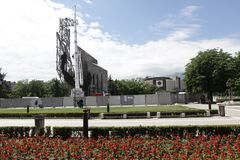 """Demolition of the monument """"1300 years of Bulgaria"""" near by NDK in Sofia, Bulgaria – july 4, 2017. Communist regime. Demolition of the monument """"1300 Stock Photography"""