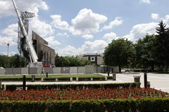 "Demolition of the monument ""1300 years of Bulgaria"" near by NDK in Sofia, Bulgaria – july 4, 2017. Communist regime. Demolition of the Stock Photography"