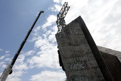 "Demolition of the monument ""1300 years of Bulgaria"" near by NDK in Sofia, Bulgaria – july 4, 2017. Communist regime. Demolition of the Royalty Free Stock Photos"