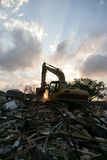 Demolition in New Orleans. A flood damaged home in the Lakeview section of New Orlean is torn down Stock Photos