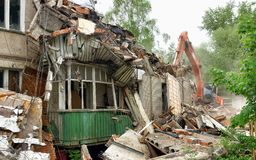 Demolition of an old apartment house Stock Photo