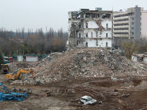 Demolition. A demolition of an old building in Bucharest Royalty Free Stock Photos