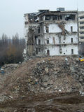 Demolition. A demolition of an old building in Bucharest Royalty Free Stock Photo