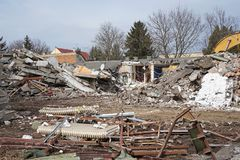 Demolition of an old building in the city Royalty Free Stock Image